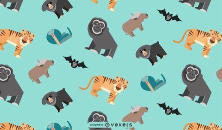 Desenho de padrão de animais da selva asiática