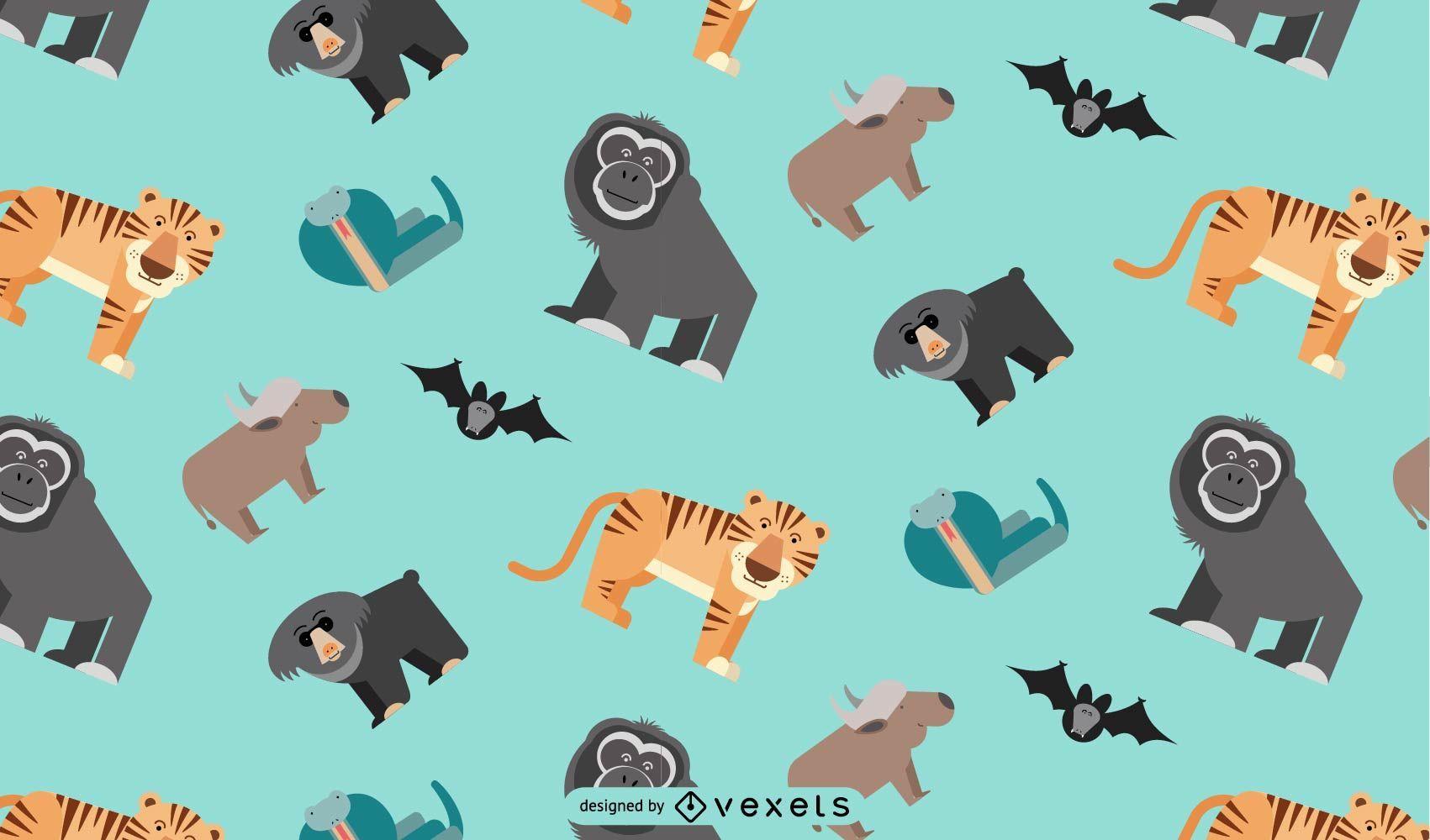 Asian jungle animals pattern design