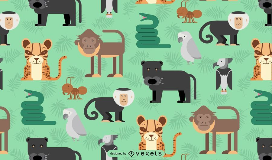 Amazon jungle animals pattern