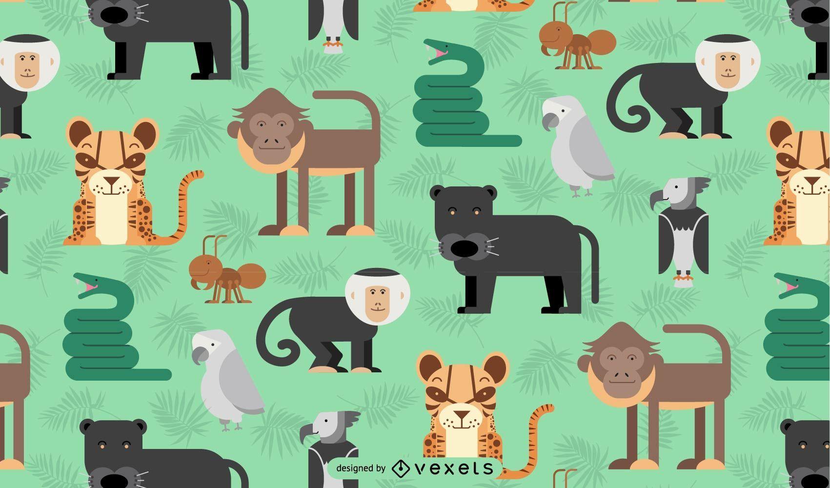Amazon jungle animals pattern