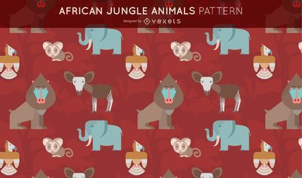 African Jungle Animals Pattern Design