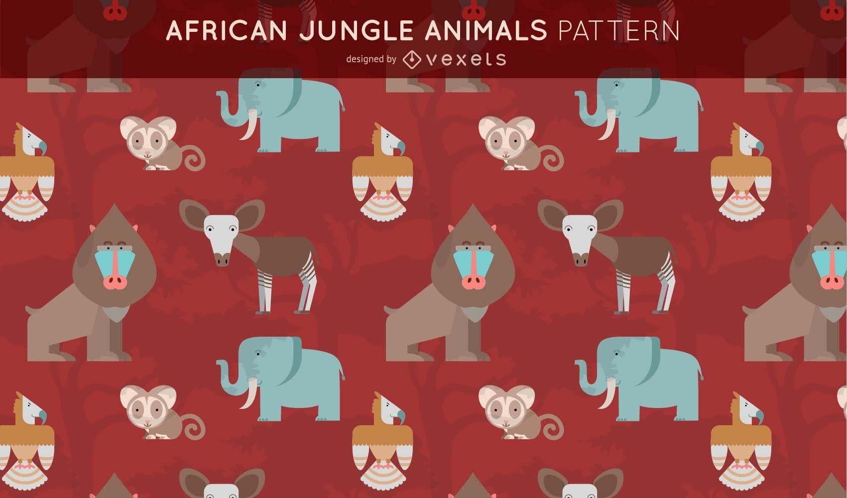 African Jungle Animals Pattern Design