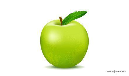 Realistischer grüner Apple-Vektor