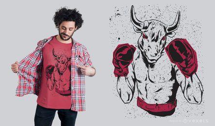 Projeto do t-shirt do pugilista de Bull