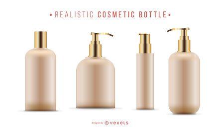 Conjunto de frascos cosméticos realistas