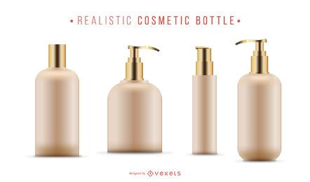 Realistic cosmetic bottle set