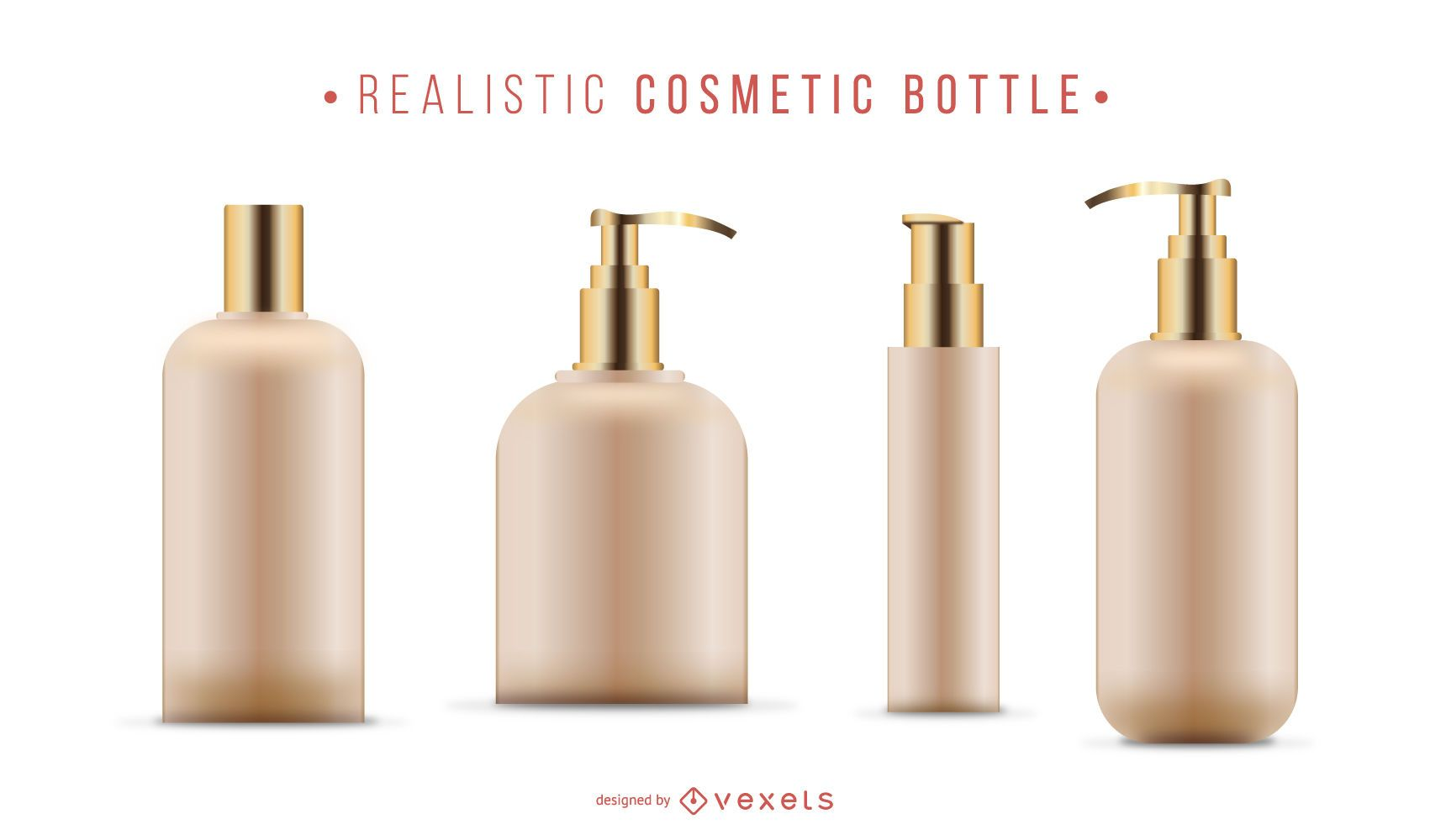 Realistic cosmetic bottle set