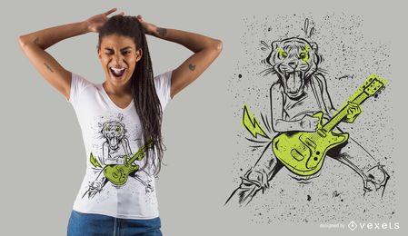 Diseño de camiseta de tigre de guitarra