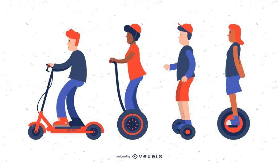 Conjunto de ilustración de scooter