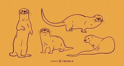 Conjunto de vetor preto e branco de lontra