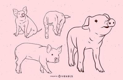Conjunto de ilustración de trazo de cerdo
