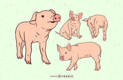 Conjunto de ilustración de granja de cerdo