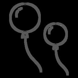 Doodle de par de cordas de balão