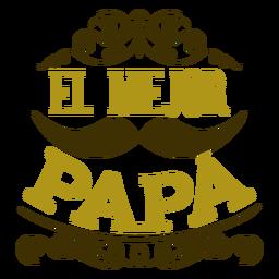Melhor emblema de inscrição de vinheta de bigode de pai