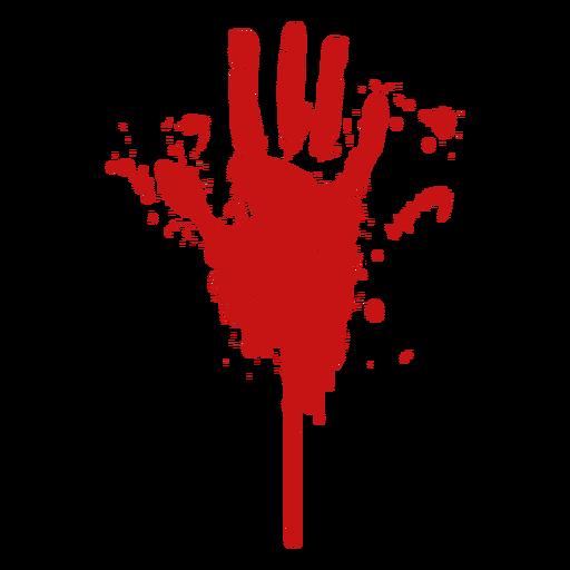 Blood palm finger print silhouette