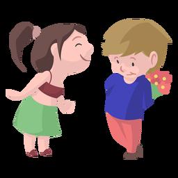 Boy girl bouquet kiss flat
