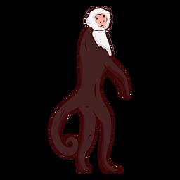 Capuchin monkey tail leg illustration