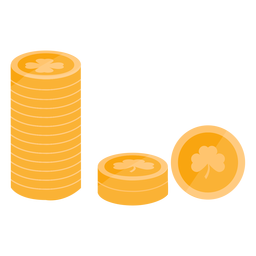 Moneda de oro trébol plana