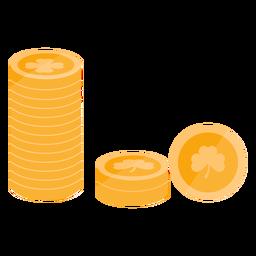 Trevo de ouro moeda plano