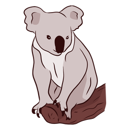 Ilustración de rama de nariz de pierna de koala de oreja