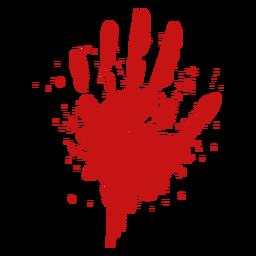 Silhueta de sangue do dedo palma impressão