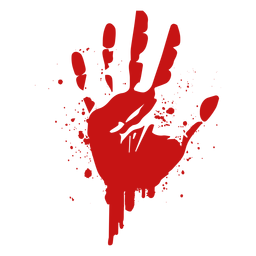 Silueta de sangre de huella de palma de dedo