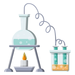 Frasco líquido líquido quemador fuego tubo bolas burbuja ilustración