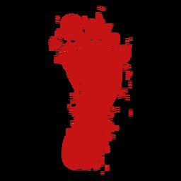 Pé, dedo pé, impressão, sangue, silueta