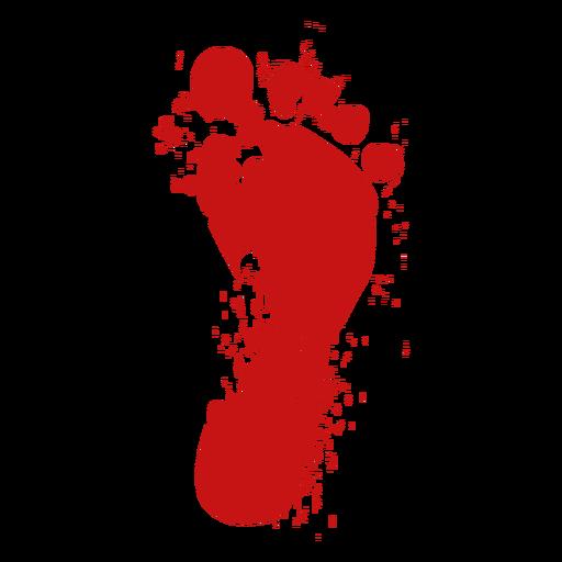 Foot toe print blood silhouette