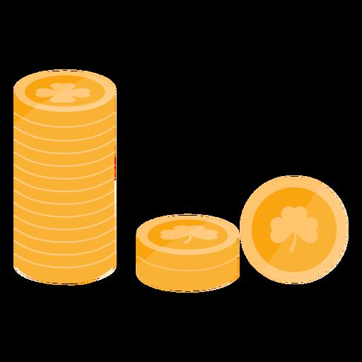Moneda de oro trébol plana Transparent PNG