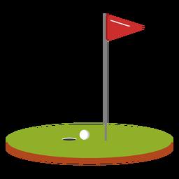 Ilustração de curso de bandeira de bola de golfe