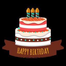 Alles Gute zum Geburtstagkuchenkerzenfeuer-Sternherzaufkleber