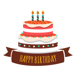 Happy birthday cake candle fire star heart sticker
