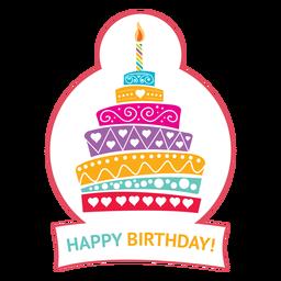 Feliz cumpleaños pastel vela fuego estrella ilustración