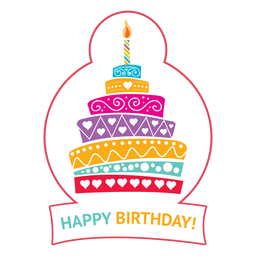 Happy birthday cake candle fire star illustration