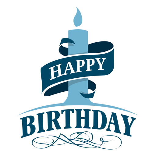 Happy birthday candle ribbon illustration Transparent PNG