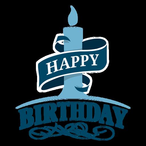 Ilustração de fita de feliz aniversário de vela Transparent PNG