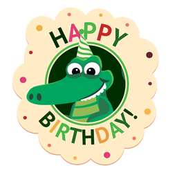 Happy birthday crocodile cap badge sticker illustration