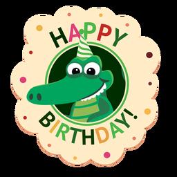 Ilustração de adesivo de crocodilo de boné de feliz aniversário