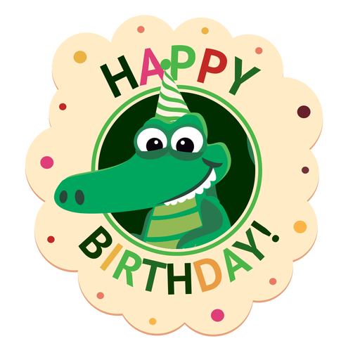 Happy birthday crocodile cap badge sticker illustration Transparent PNG