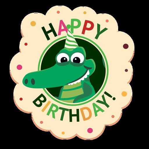 Happy birthday crocodile cap badge sticker illustration