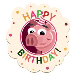 Feliz aniversário cão cap crachá adesivo ilustração