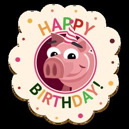 Feliz cumpleaños insignia de cerdo