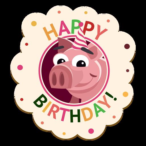 Happy birthday dog cap badge sticker illustration Transparent PNG