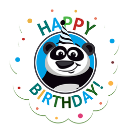 Happy birthday horse cap badge sticker illustration