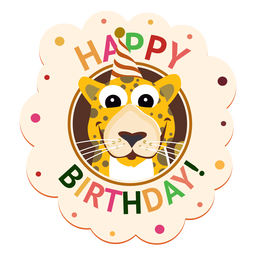Happy birthday leopard cap badge sticker illustration