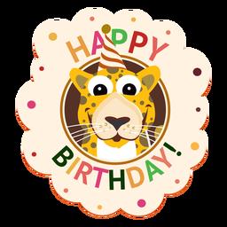 Ilustración de etiqueta engomada de la insignia del casquillo del leopardo del feliz cumpleaños