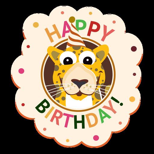 Ejemplo de la etiqueta engomada de la insignia del casquillo del leopardo del feliz cumpleaños Transparent PNG