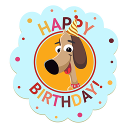 Ejemplo de la etiqueta engomada de la insignia del casquillo de la panda del feliz cumpleaños