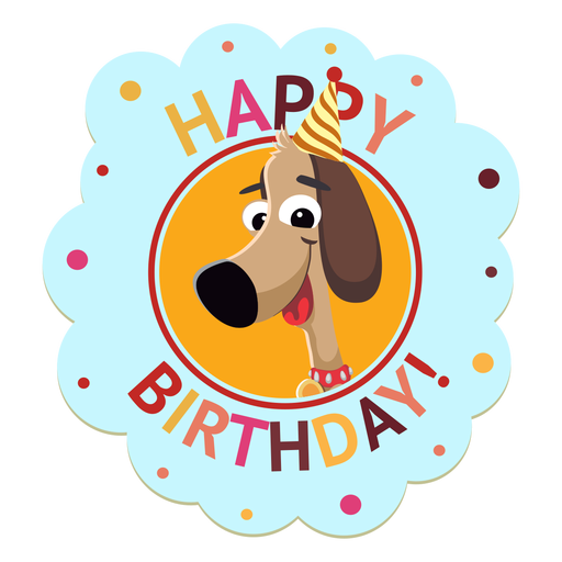 Happy birthday panda cap badge sticker illustration Transparent PNG